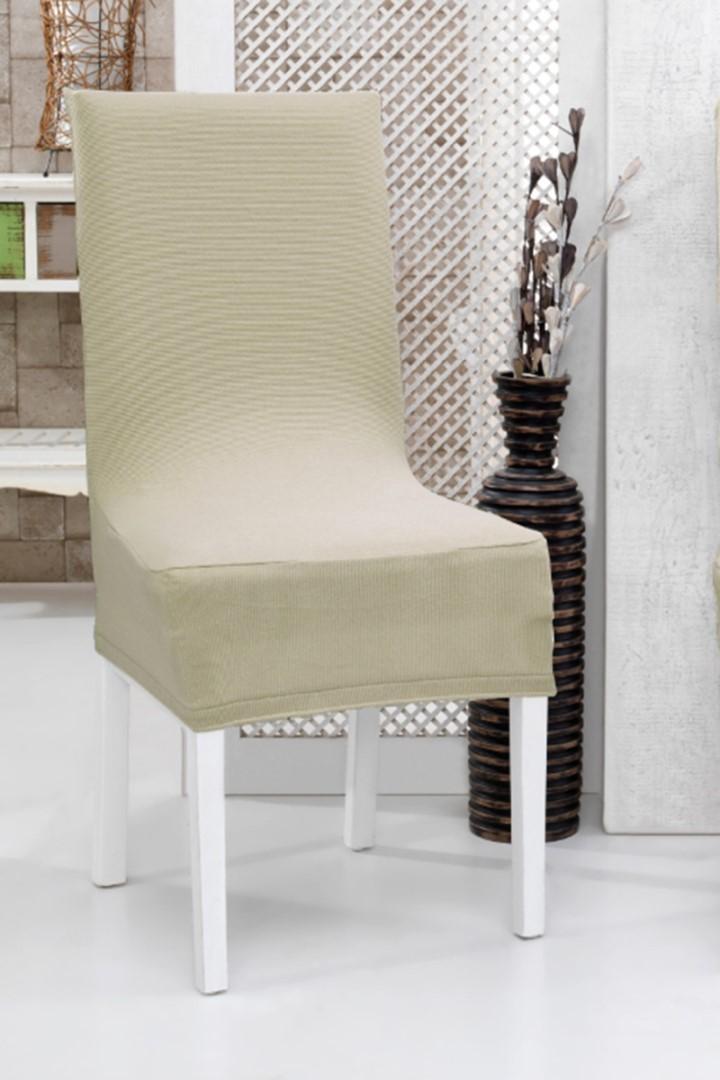 Napínací potah na židli s opěradlem 2 ks béžový