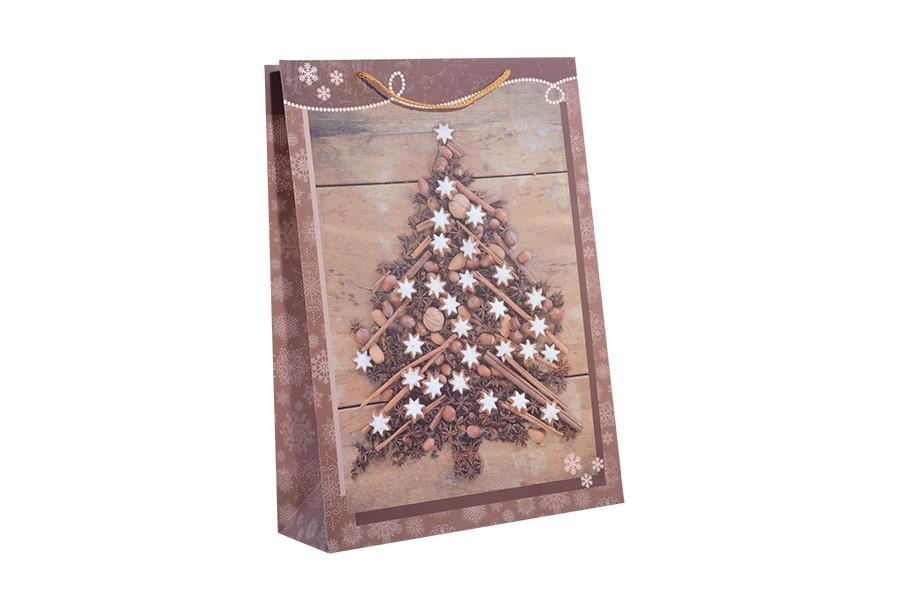 Vánoční taška XL STROMEČEK hnědý