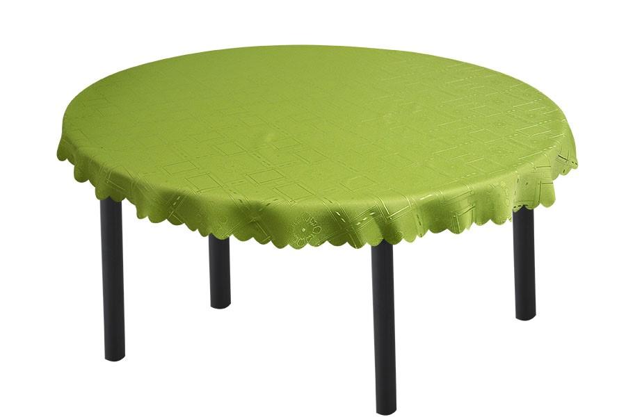 Žakárový kulatý ubrus KUBE zelený 140 cm
