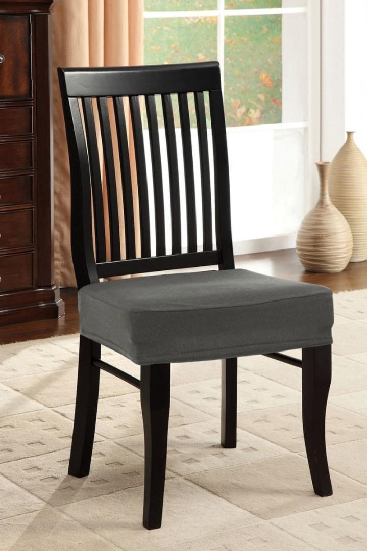 Napínací potah na židli bez opěradla 2 ks šedý