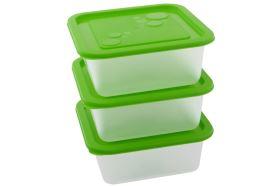 Sada plastových dóz KUBE 1,2 l 3 ks zelená